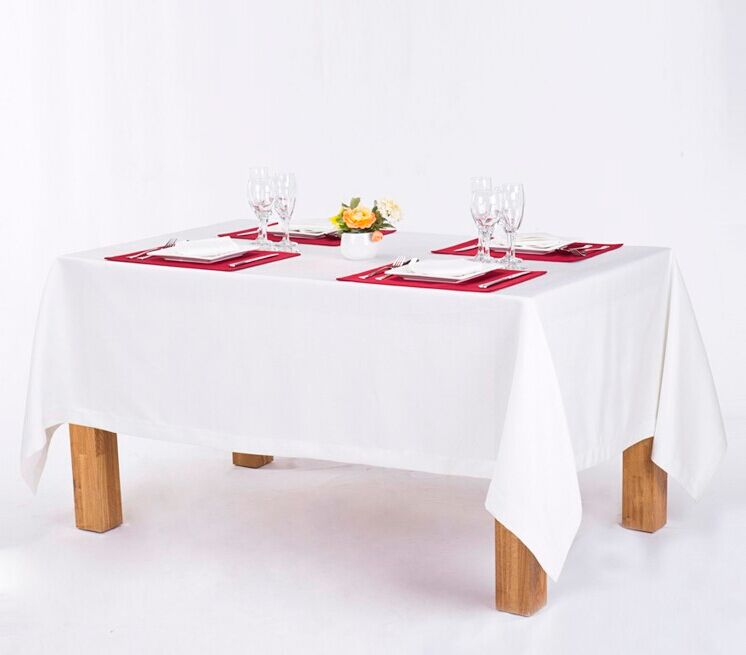 Hot selling plain fabric rectangle 100% polyester white restaurant hotel linen table cloth
