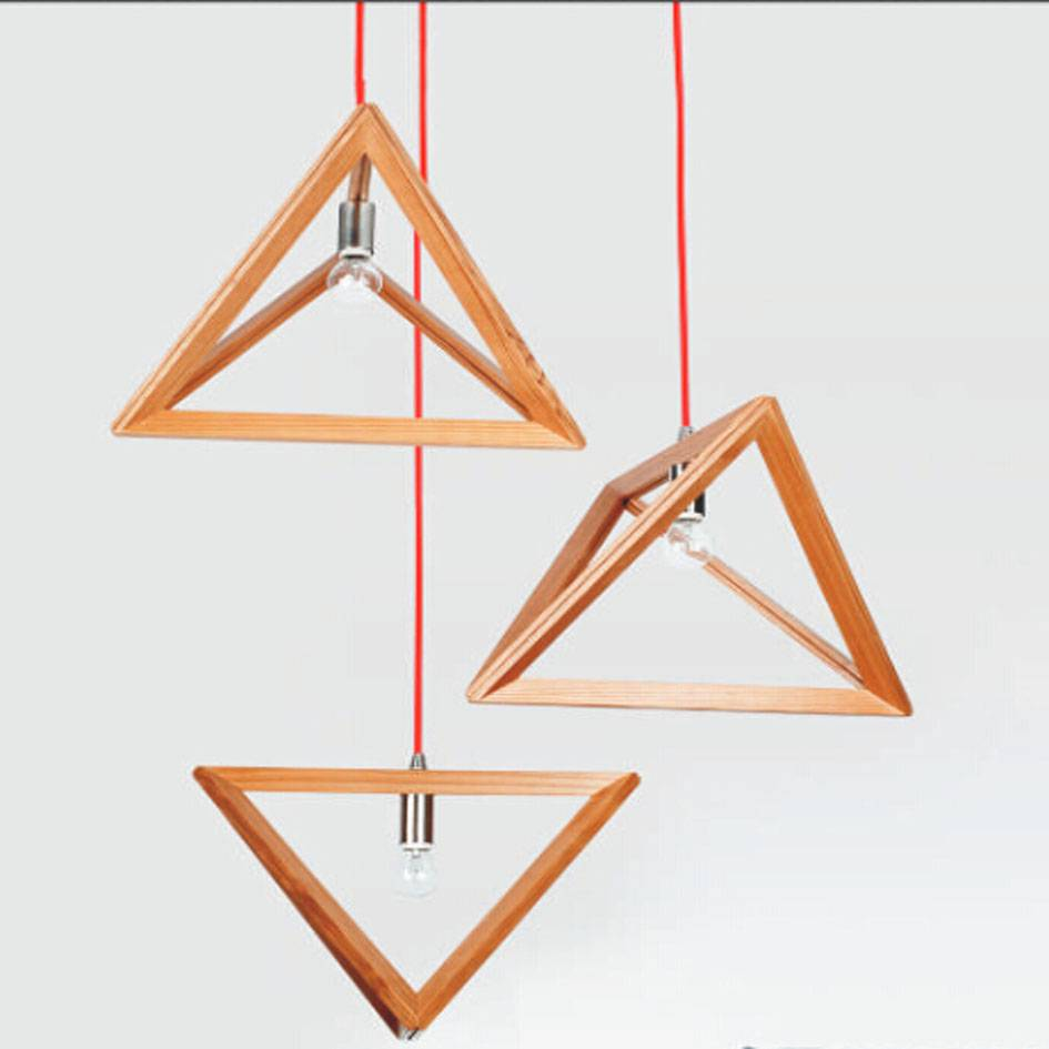 Unique beautiful triangle shape modern wooden pendant light