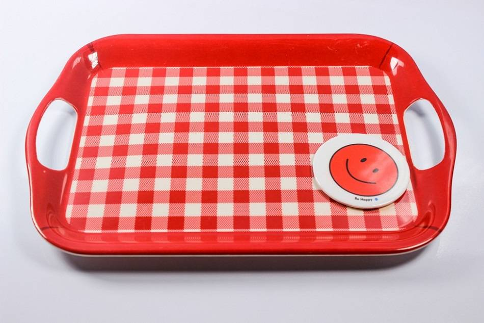 "14"", 16"", 18.2"", 20"" double ear shallow melamine tray"