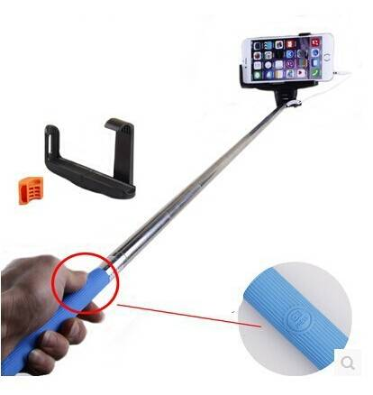 POPLAR New Cable Selfie Stick Self Portrait Handled monopod with Adjustable Phone Holder & Built-in