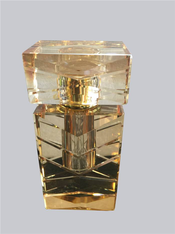 transparent crystal perfume bottle