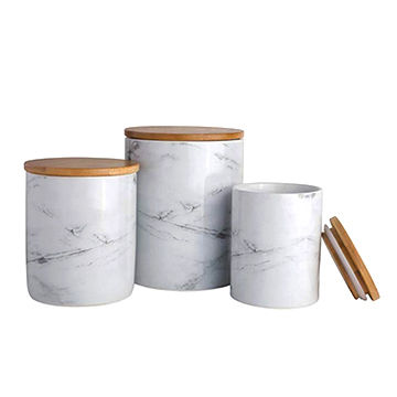 Ceramic marble candle holders with bamboo lid