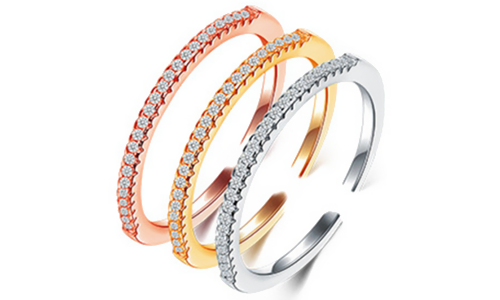 Three Colors Crystal Inlay Sterling Sliver Open Rings