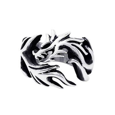 Wholesale stainless steel punk &Rock style fire dragon rings