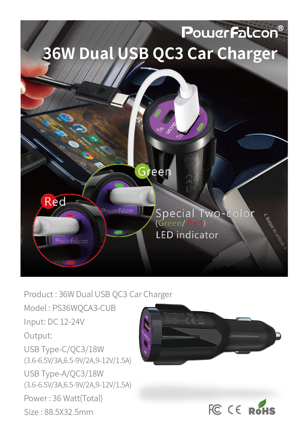 Powerfalcon 36W Dual QC3 (USB C+A) Car Charger