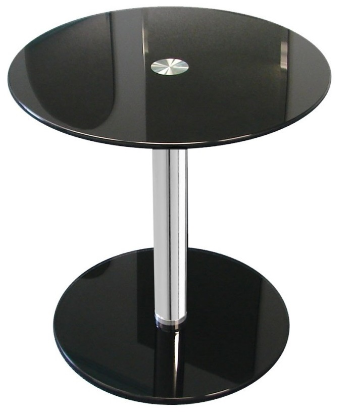 Black Round Modern Glass Side Table