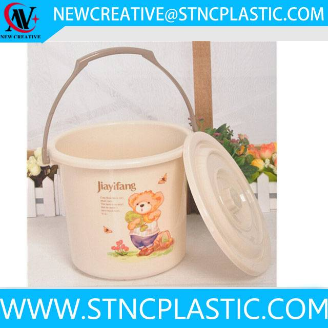 cartoon good quality cheap plastic bucket with lid