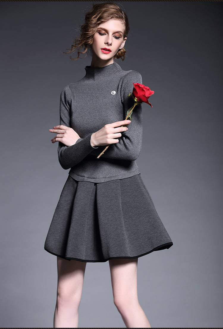 Europe winter 2015 new women's fashion pure color spliced dress for ladies