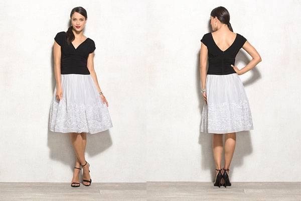 V neck white and black petite dress
