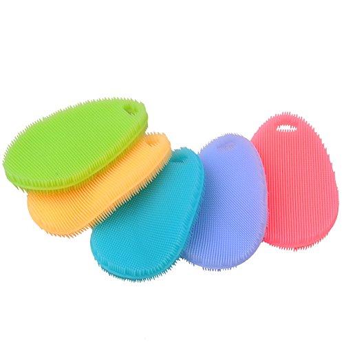 5 Pack Creative Multifunctional Antibacterial Silicone Washing Brush for Dishwashing