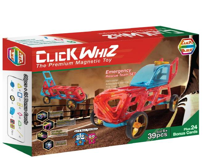 CLICKWHIZ 2D EMERGENCY Educational magnetic block toy