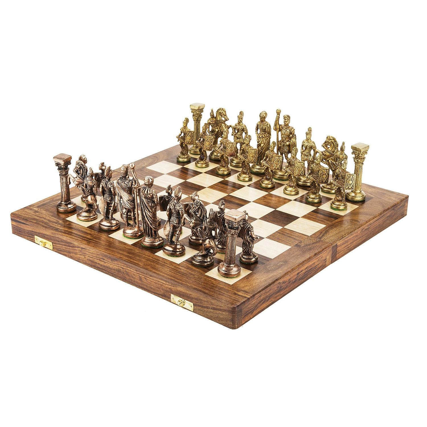 Handmade Royal International Brass Chess with Wooden Book Style Box and Storage Delux Chess Standerd