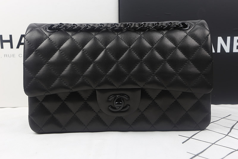 Coco All black Classic Flap Bag A1112 in Black Original Lambskin Leather with Black Hardware