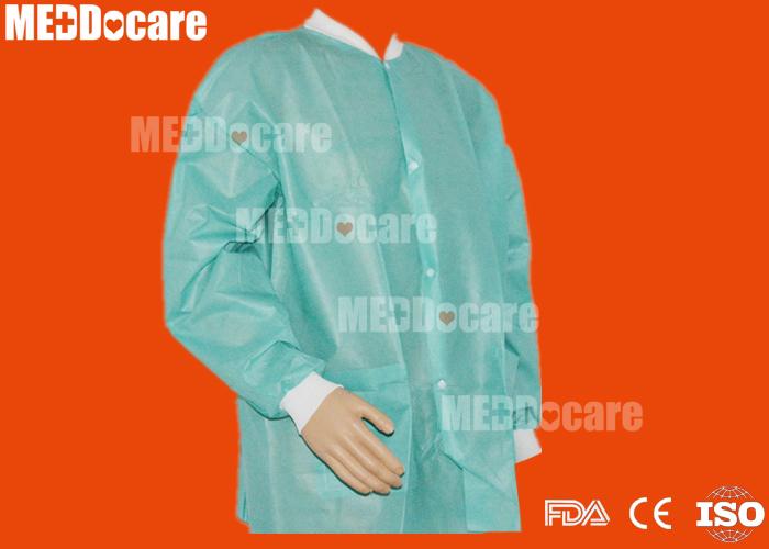 disposable nonwoven covered plastic PP+PE lab coat