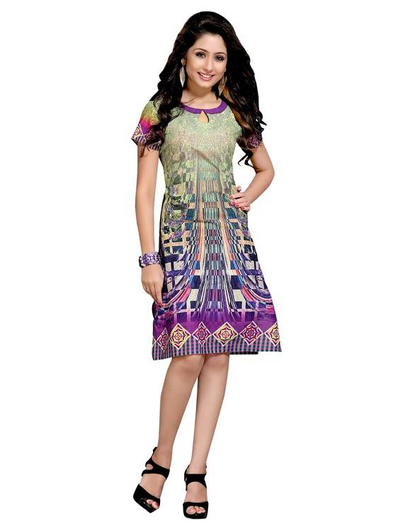 Rayon multicolour colour  Embroidered kurti  VTVIC-035