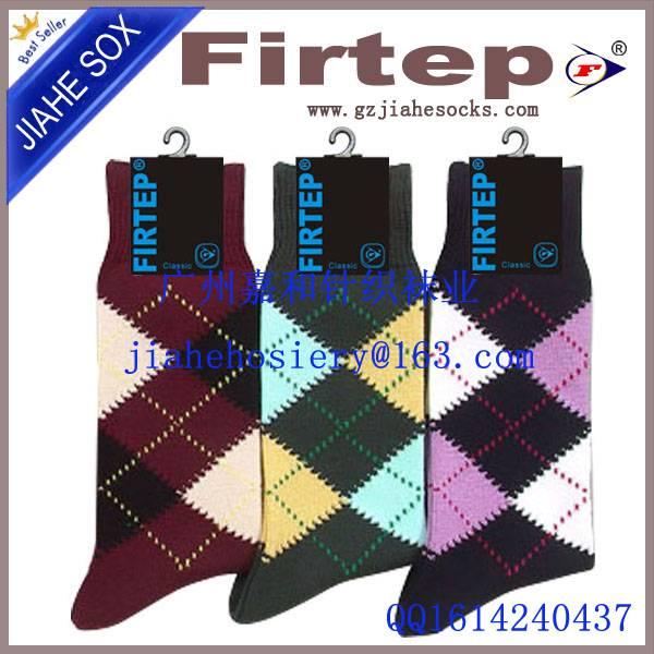 Men argyle designed sock fashion dress cotton socks
