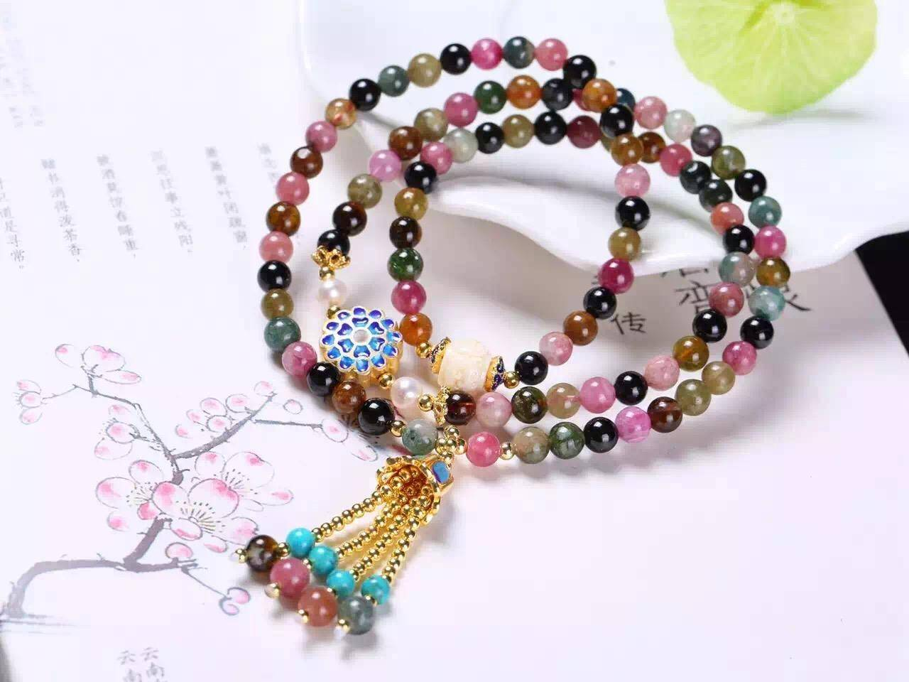 NEFFLY Natural Colorful Tourmaline Folk 925 Sterling Silver 5mm Brazil Style Beaded Strands Bracelet