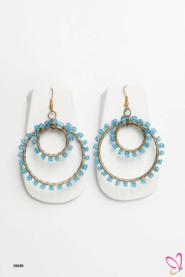 ChicKraft The Rolly- Polly Alloy Metal Glass Bead Blue Dangle Earring (1 Pair)
