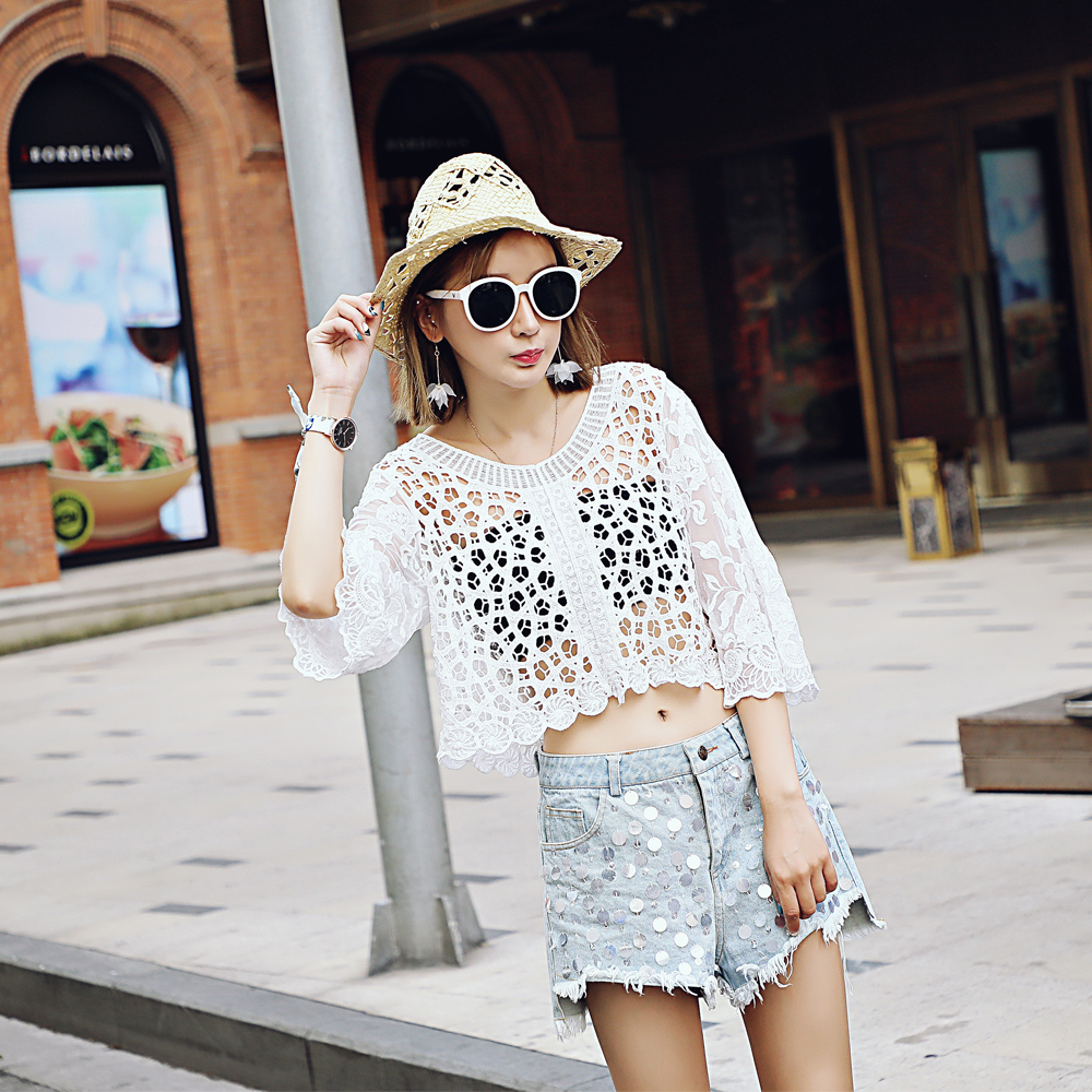 Lace Blouse Sleeve Holder Lace Vest Customized Watery Lace Holder Sexy Blouse