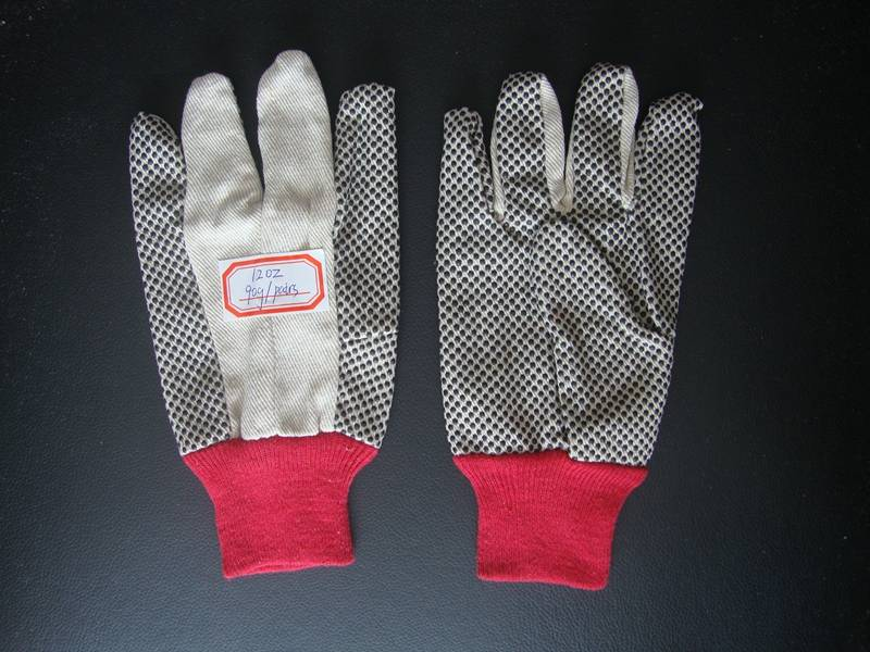 factory canvas material 10oz/12oz canvas dots gloves