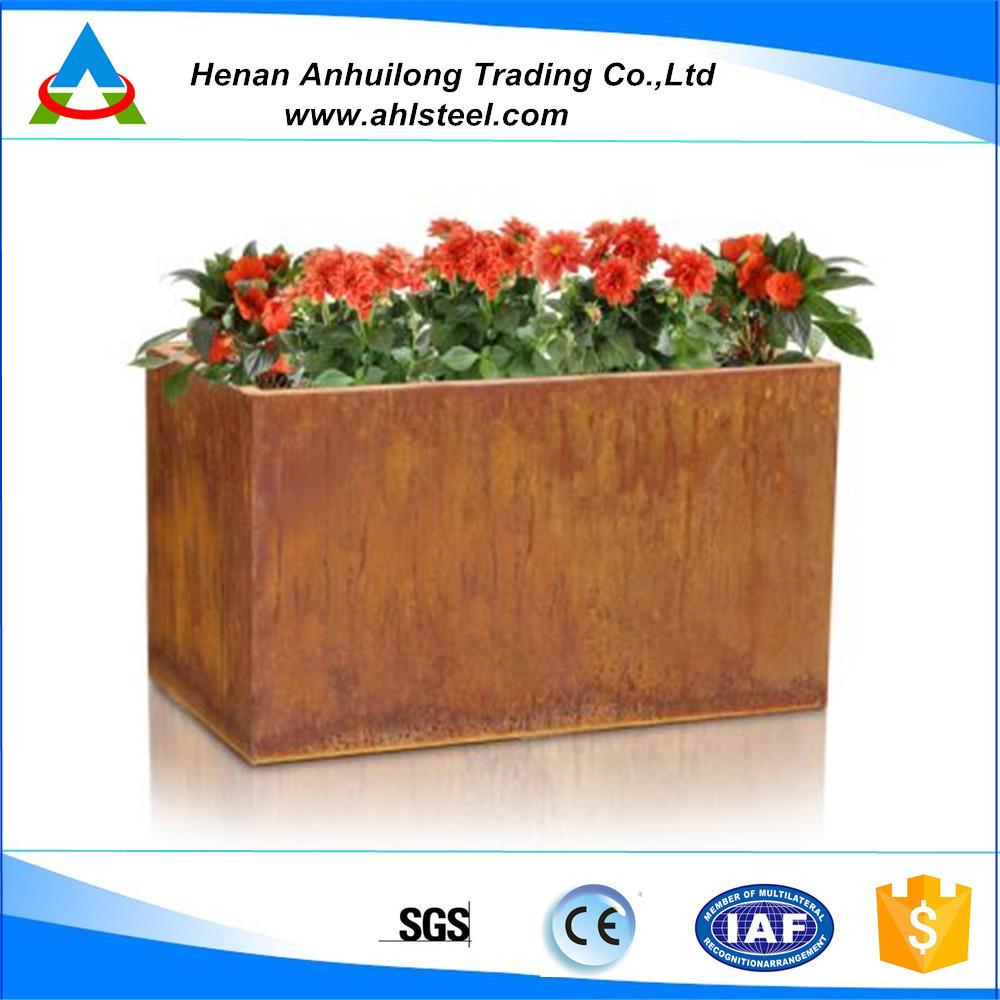 corten steel flower pot and planter for garden landscape