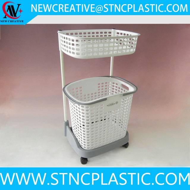 collapsible 2-tier plastic laundry baskets with wheels