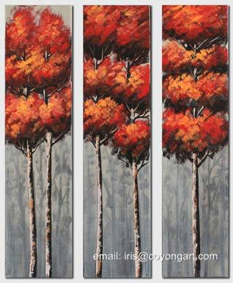 Hand painted landscape painting, trees oil painting on canvas