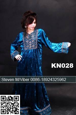 Blue Velvet Long Sleeves Kaftans Beaded Maxi Caftan for Muslim Women