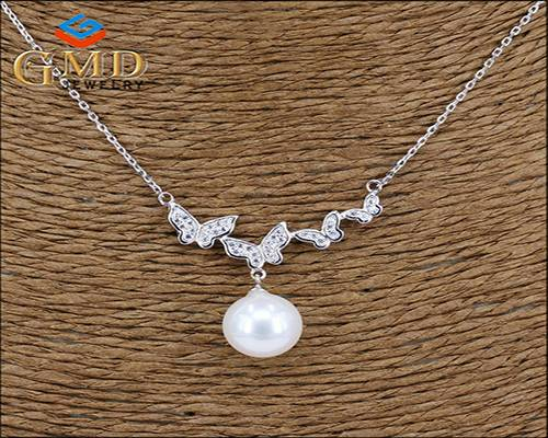 China factory promotional custom rhodium plated silver necklace and pendant