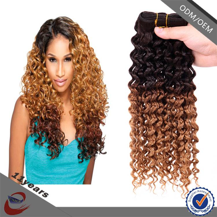 MOQ 1 pcs Wholesale America Popular French Curl 100 Virgin Malaysian Curly Hair , Ombre Remy Hair Ex