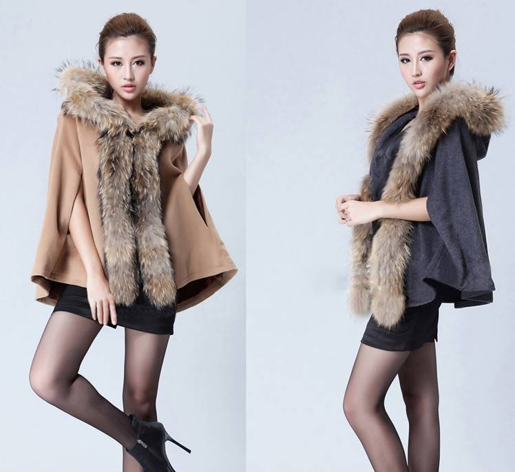 real raccoon dog fur trimming warm ladies wool fashion hooded cape fur