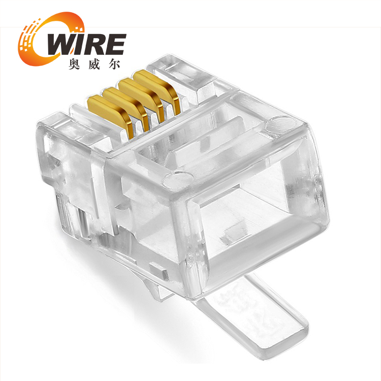 RJ45 gold plated modular plug for Cat6 with load bar insert.