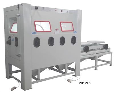Multi-station sand blasting cabinet