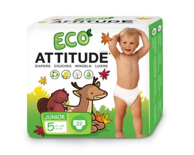 Attitude Eco-Friendly Diapers Size 5 (12+kg) 22 wipes
