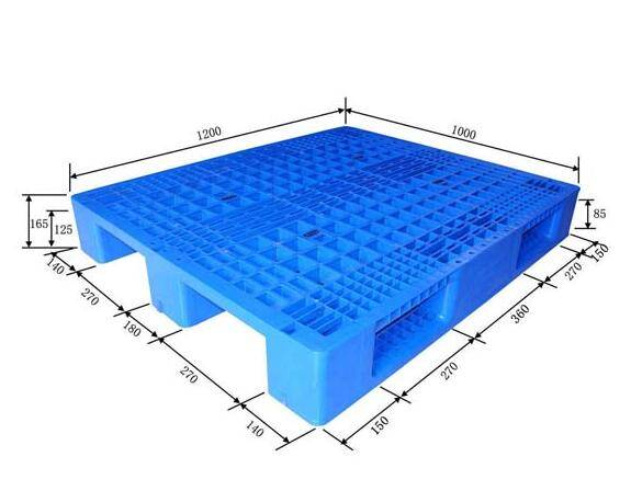 Single sided perforated plastic pallet with 3 skids 1200X1000X165mm