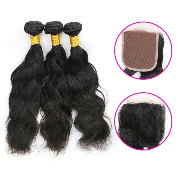 8A Brazilian Natural Wave Human Virgin Hair Weave 3 Bundles With Lace Closure