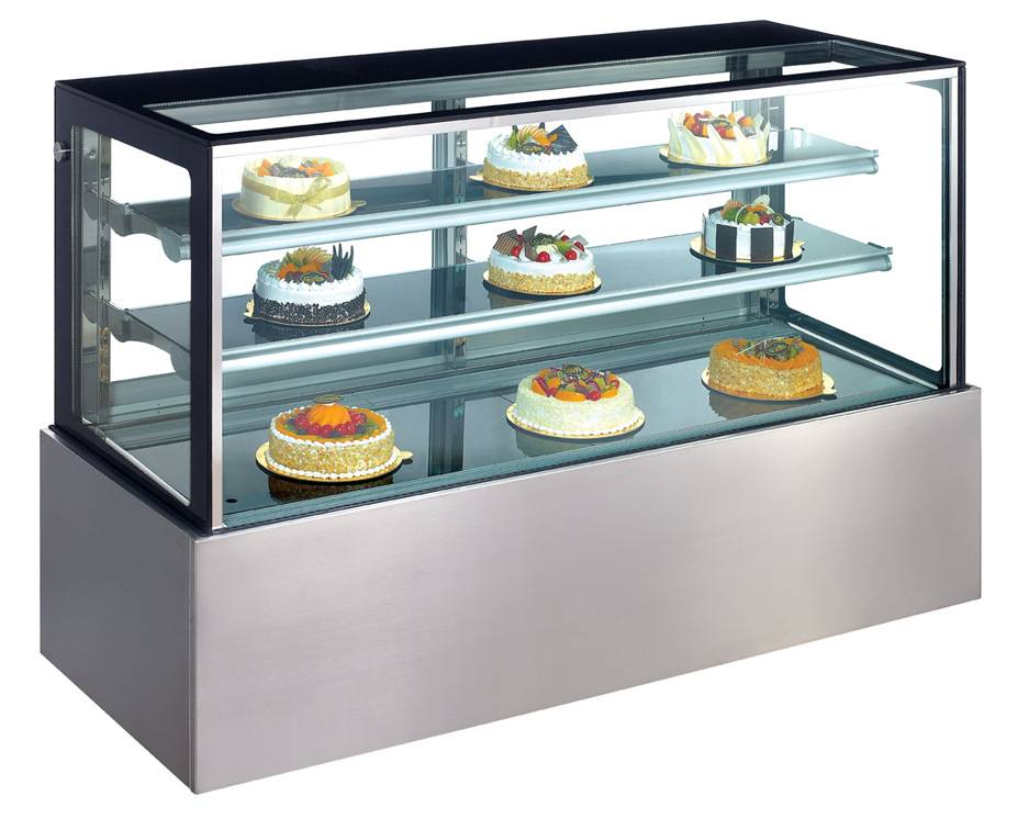 Stainless steel square shape cake display cabinet refrigerator cabinet