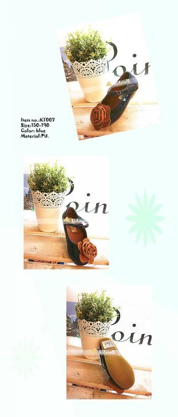 kidstalk pretty girl flower ornament PU leather children's dress shoes KT007