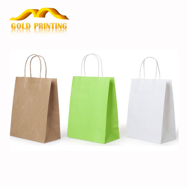 Custom cheap high quality printed logo kraft paper gift shopping bag with handle