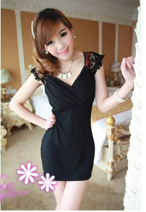 Lace Shoulder Cross V-Neck Sexy Dress