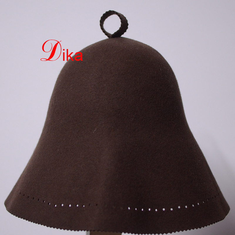 2mm brown color pressed 100% wool felt sauna hat, sauna protection hat