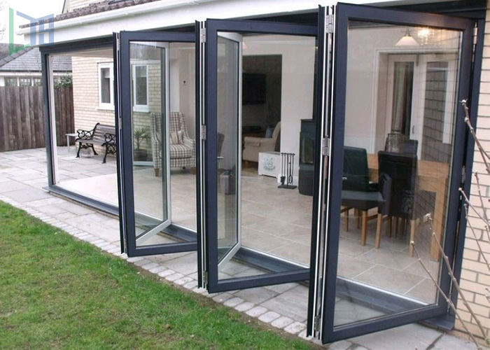 Exterior sound proof tempered glass bi-fold Aluminum door folding door