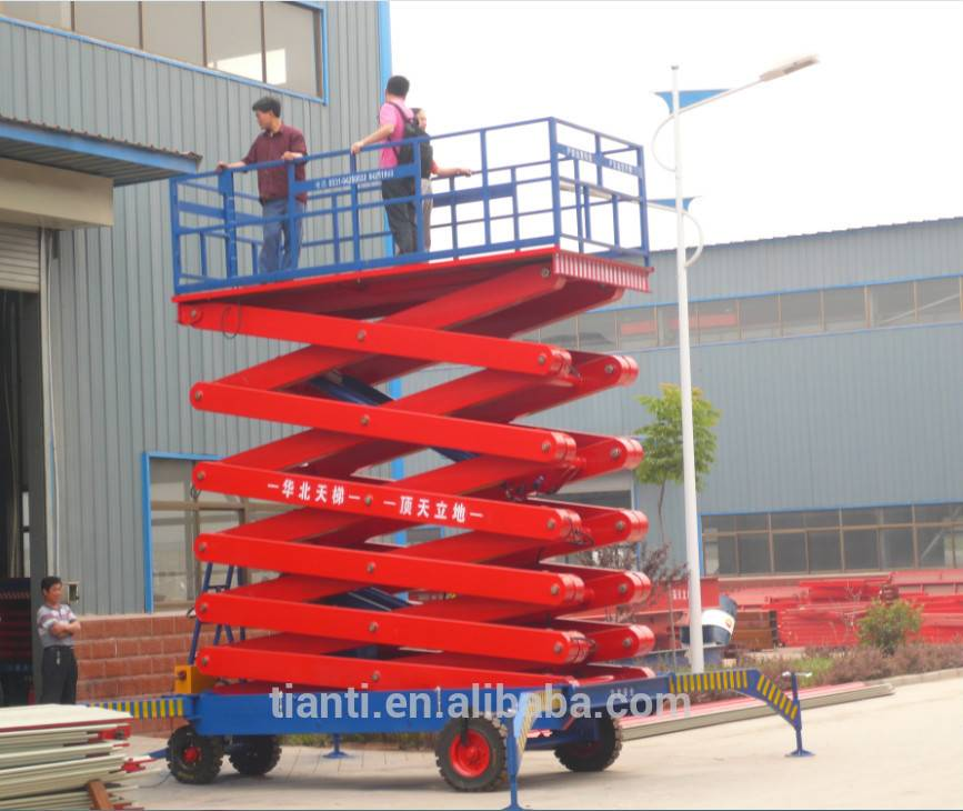 SJPT10-10 four wheel mobile scissor lift platform