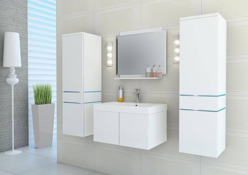 White High Gloss Lacquer Modern Style Furniture Bathroom Cabinet-P9054