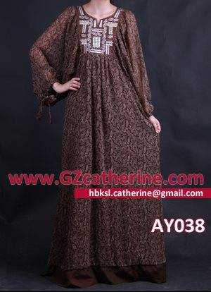 Cheap Fashion Brown Printed Women Islamic Clothing Kaftan