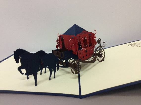 Hourse carriage 3D pop up greeting card
