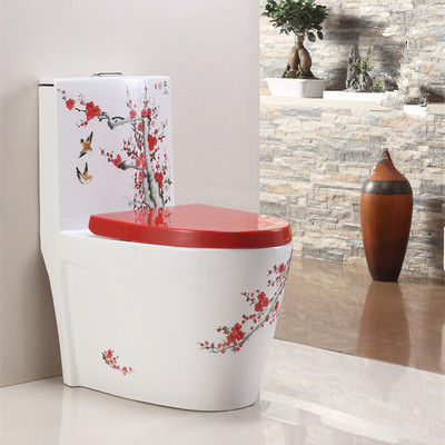 Bathroom good sale hand painting ceramic siphonic one piece toilet
