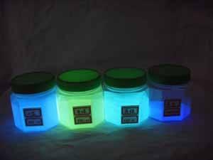 photoluminescent pigment in yellow-green, sky-blue etc.