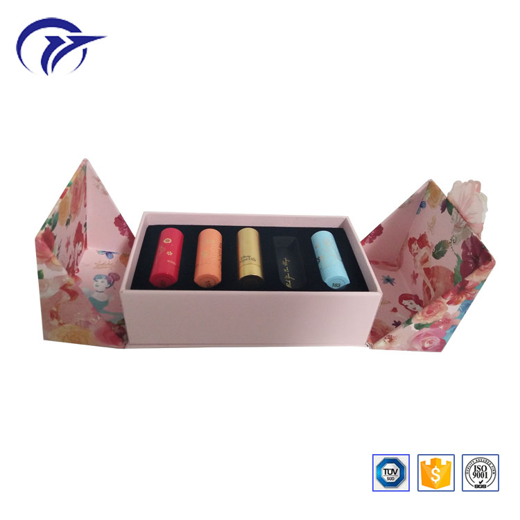 customized printing double side opening special shape lipstic packaging paper gift display box with