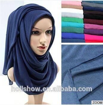 Wholesale Plain Women Dubai Muslim Scarf Solid Color Cotton Infinity Jersey Hijab